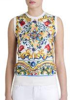 Dolce & Gabbana Tile Print Silk Shell