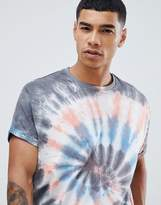 Asos Design Oversized Longline T-Shirt With Roll Sleeve In Spiral Tie Dye