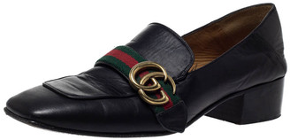 Gucci Black Leather GG Marmont Web Slip On Loafers Size 38.5