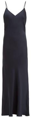 Pour Les Femmes - V Back Silk Satin Slip Nightdress - Womens - Navy
