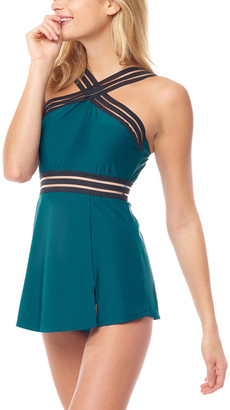 Sea And Sand Sea and Sand Women's One Piece Swimsuits - Teal Cross-Front Swim Dress - Women