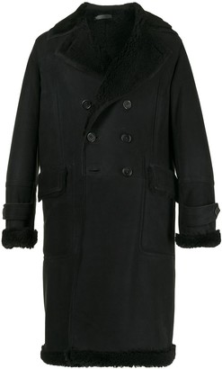 SONGZIO Double-Breasted Shearling-Lined Jacket