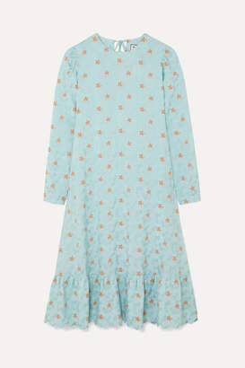 Paul & Joe Contine Tiered Floral-jacquard Midi Dress - Blue