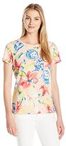 Caribbean Joe Women's Floral Printed Cotton Spandex Short Sleeve Boatneck with Crochet Trim