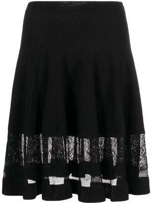 Alexander McQueen Sheer-Panel Flared Skirt