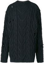 Palm Angels distressed cable-knit jumper - men - Cotton/Polyester - S