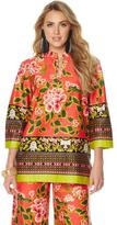 N Natori Garden Floral Printed Stretch Cotton Sateen Tunic