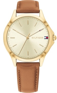 Tommy Hilfiger Women's Brown Leather Strap Watch 34mm, Created for Macy's