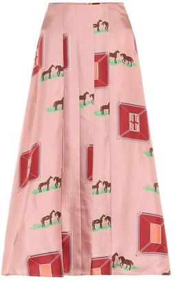 Victoria Beckham Printed silk midi skirt
