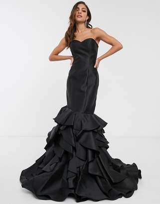 Jovani strapless fishtail dress with ruffle skirt-Black