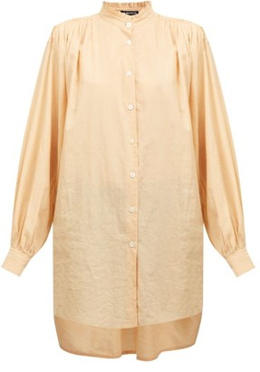 Ann Demeulemeester Oversized Frilled Neck Cotton-blend Shirt - Orange