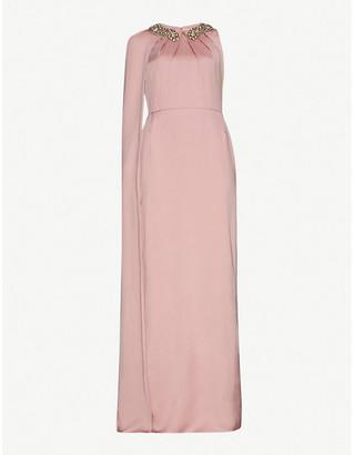 Alexander McQueen Embellished cape-panel silk gown