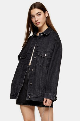 Topshop Womens Super Oversized Washed Black Denim Dad Jacket - Washed Black
