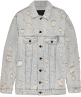 Alexander Wang Daze Oversized Distressed Denim Jacket - Light denim