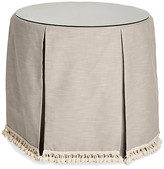 One Kings Lane Eden Round Skirted Table - Greige - upholstery, greige; glass, clear