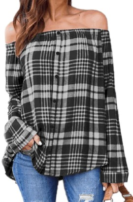 Zilcremo Women Strapless Tunic Blouse Top Plaid Off Shoulder Shirts Tops Black L