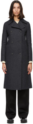Harris Wharf London Grey and Navy Wool Military Coat