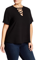 Hip Wove Lace Up Tee (Plus Size)