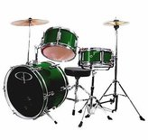 GP50 Junior Children's/Kids Drum Set with Sticks - Metallic Green