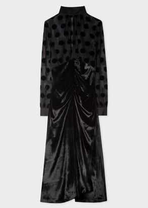 Paul Smith Women's Black Velvet Dress With Sheer Polka Dot Top Detail