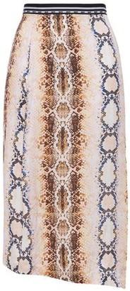Maje Asymmetric Grosgrain-trimmed Snake-print Satin Skirt