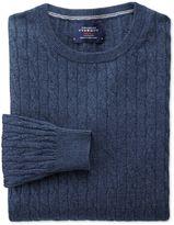 Charles Tyrwhitt Indigo Cotton Cashmere Cable Crew Neck Cotton/cashmere Sweater Size Large