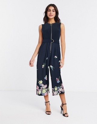 Ted Baker cosetee pergola zip front jumpsuit in black