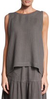 eskandar Sleeveless Round-Neck Linen Shell, Elephant