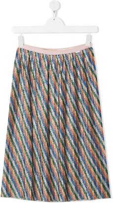 Molo TEEN glitter rainbow stripe pleated skirt