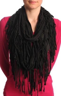 Lisskiss Black With Tassels Snood Scarf - Black Designer Snood