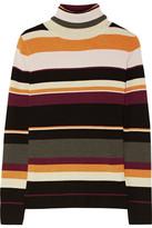 Paul & Joe Sigrid Striped Ribbed Merino Wool Turtleneck Sweater - Burgundy