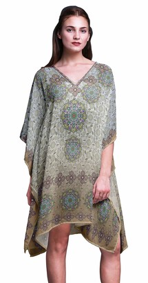 Phagun Ladies Kaftan Holiday Loungewear Midi Dress Beach Coverup-S-L Light Brown