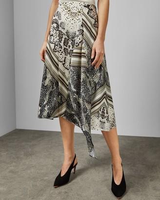 Ted Baker Snake Print Asymmetric Skirt