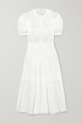 Self-Portrait Broderie Anglaise Cotton Midi Dress - White