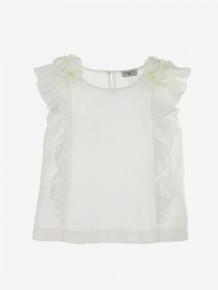 MonnaLisa T-shirt With Ruffles And Floral Applications