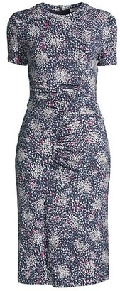 HUGO BOSS Enice Ruched Printed Jersey Dress