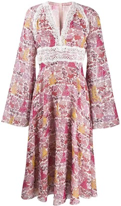 Giamba long-sleeve flared dress