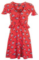 Petite red floral spot dress