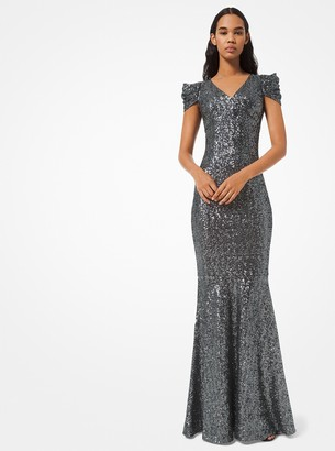 Michael Kors Sequined Mesh Trumpet Gown