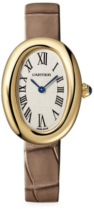Cartier Baignoire Small 18K Yellow Gold & Taupe Alligator-Strap Watch