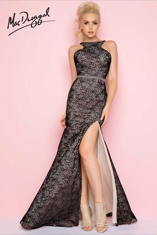 Mac Duggal Flash - 77246 High Neck Gown In Black / Nude