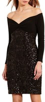 Lauren Ralph Lauren Women's Sequin Off The Shoulder Mixed Media Dress