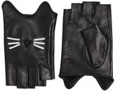 Karl Lagerfeld K/Paris Leather Fingerless Gloves