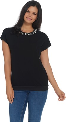 Brooke Shields Timeless BROOKE SHIELDS Timeless Short- Sleeve Knit Top w/ Embellished Neckline