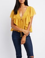 Charlotte Russe Ruffle-Trim Tie-Front Top