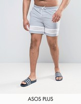Asos Plus Swim Shorts In Grey With Mesh Detail In Mid Length