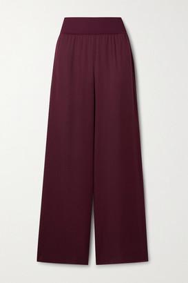 Theory Silk Crepe De Chine Wide-leg Pants - Burgundy
