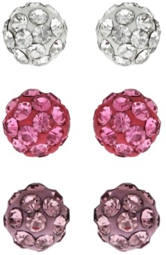 Rhona Sutton 4 Kids Children's Colored Crystal Balls Stud Earrings - Set of 3 in Sterling Silver