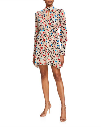 Saloni Tania Metallic Keyhole Mini Dress
