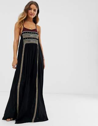 Raga Moonlight In Morocco embroidered maxi dress-Black